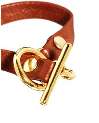 Gorjana - Brown Single Leather Bracelet with Toggle - Lyst
