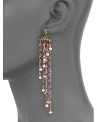 Iam By Ileana Makri | Metallic Raining Bells Amethyst, Grey Diamond & White Pearl Cascade Chandelier Earrings | Lyst