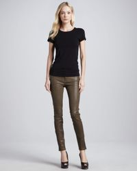 J Brand - Brown Leather Skinny Pants in Iron - Lyst