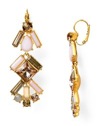 kate spade new york - Pink Baguette Bridal Linear Chandelier Earrings - Lyst
