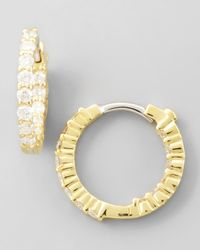 Roberto Coin | Metallic 16mm Yellow Gold Diamond Huggie Hoop Earrings | Lyst