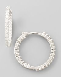 Roberto Coin | Metallic 22mm White Gold Diamond Huggie Hoop Earrings | Lyst