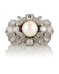 Alexander McQueen - Metallic Silver Plated Swarovski Crystal and Faux Pearl Ring - Lyst
