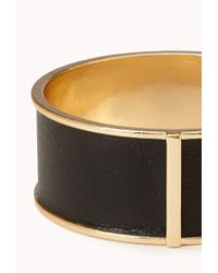 Forever 21 - Metallic Sleek Faux Leather Bangle - Lyst