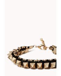 Forever 21 - Black Spiked Macramé Bracelet - Lyst