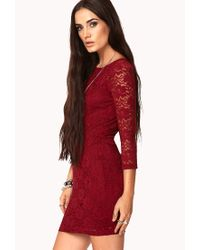 Forever 21 - Purple Floral Lace Bodycon Dress - Lyst