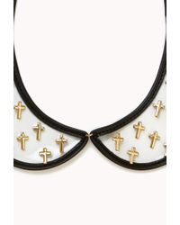 Forever 21 - Metallic Clear Cross Collar Necklace - Lyst