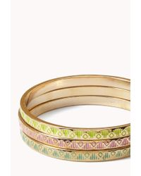 Forever 21 | Metallic Multi-color Tribal Print Bangle Set | Lyst