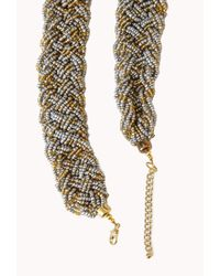 Forever 21 - Gray Braided Bead Necklace - Lyst