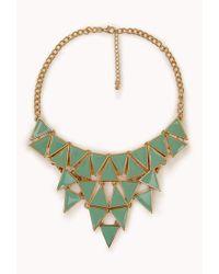 Forever 21 - Green Geo Bib Necklace - Lyst