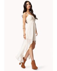 Forever 21 | White Chiffon & Lace High-Low Dress | Lyst