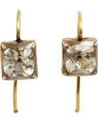 Olivia Collings | Metallic Rock Crystal Small Square Drop Earrings | Lyst