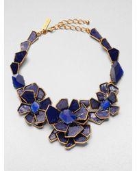Oscar de la Renta   Blue Floral Bib Necklace   Lyst