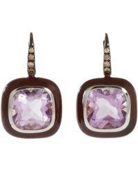 Sidney Garber | Purple Brown Diamond Amethyst Drop Earrings | Lyst