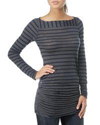 Splendid | Gray Venice Slub Stripe Boat-neck Top | Lyst