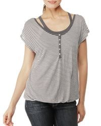 Splendid | Gray Tiny White Stripe Double Layer Top | Lyst