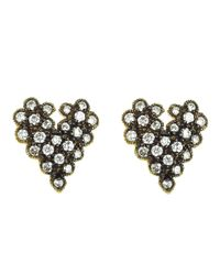 Cathy Waterman | Gray Scalloped Heart Studs | Lyst