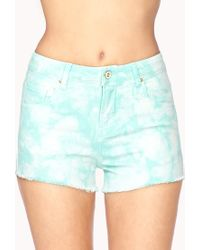 Forever 21 - Blue Bleached Denim Shorts - Lyst