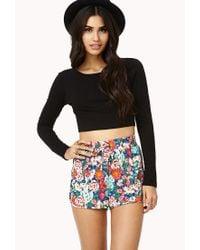 Forever 21 | Black Floral Print Pj Shorts | Lyst