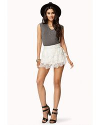 Forever 21 | Natural Crochet Tiered Layer Skort | Lyst