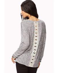 Forever 21 - Gray Meadow Crochet Sweater - Lyst