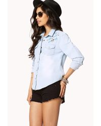 Forever 21 | Blue Embroidered Western Denim Shirt | Lyst