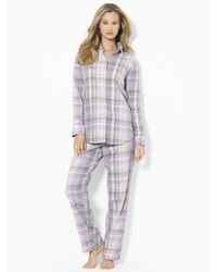 Lauren by Ralph Lauren - Purple Plaid Twill Pajama Set - Lyst