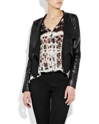 Max Azria - Black Cotton-paneled Leather Jacket - Lyst