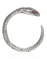 Pamela Love - Metallic Silver Ruby Serpent Ring - Lyst