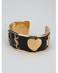 Saint Laurent | Black Ycons Cuff Bracelet | Lyst