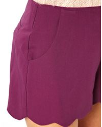 ASOS - Purple Asos Shorts with Scallop Hem - Lyst