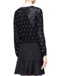 Alice + Olivia - Black Pearls Detail Chunky-knit Cropped Cardigan - Lyst