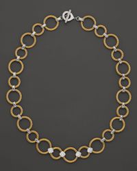 Charriol   Classique Collection Nautical Cable 18k White Gold Stainless Steel and Yellow Stainless Steel Diamond Necklace 17   Lyst