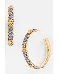 Freida Rothman | Metallic Tribeca Logo Station Hoop Earrings | Lyst