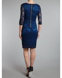 Glamorous - Blue Lace 34 Sleeved Dress - Lyst
