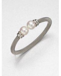 Majorica | Metallic 12mm White Pearl Tipped Bracelet/silvertone | Lyst