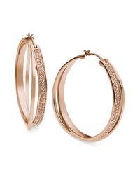 Michael Kors | Metallic Rose Gold-tone Quartz Pave Interlocking Hoop Earrings | Lyst