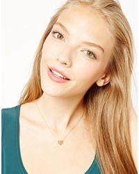 ASOS - Metallic Orelia Button Heart Necklace - Lyst