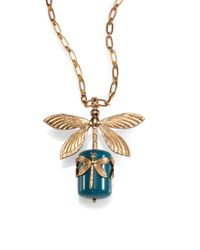 Tory Burch - Metallic Dragonfly Pendant Necklace - Lyst