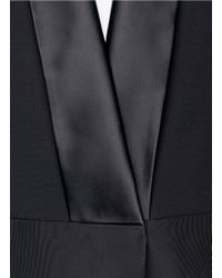Victoria Beckham - Black Contrast Collar Silk-wool Cape Jacket - Lyst