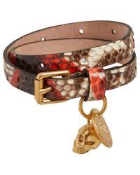 Alexander McQueen | Brown Double Wrap Python Bracelet | Lyst