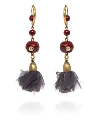 Isabel Marant - Red Burgundy Silk Drop Earrings - Lyst