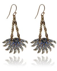 Lulu Frost | Metallic Swarovski Crystal and Brass Sunburst Drop Earrings | Lyst