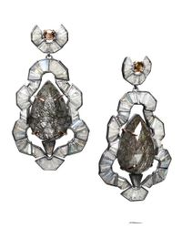 Nak Armstrong - Gray Rose Gold Tourmalated Quartz and Labradorite Earrings - Lyst
