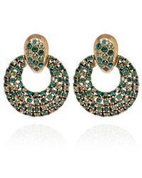 Oscar de la Renta - Green Crystal Circle Clipon Earrings - Lyst