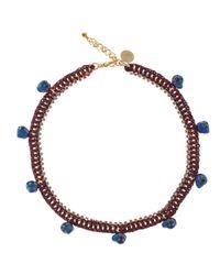 Venessa Arizaga - Blue Red Elephant Skull Charm Necklace - Lyst