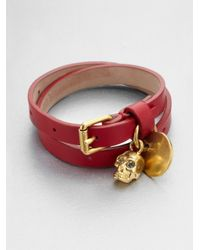 Alexander McQueen | Purple Leather Skull Wrap Bracelet | Lyst