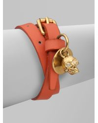 Alexander McQueen | Orange Leather Skull Wrap Bracelet | Lyst