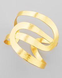 Herve Van Der Straeten | Metallic Vibrations Goldplate Wavy Cuff | Lyst