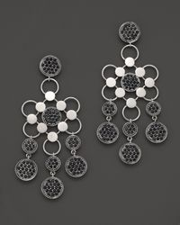 John Hardy - Metallic Dot Silver Lava Drama Chandelier Earrings With Black Sapphire - Lyst